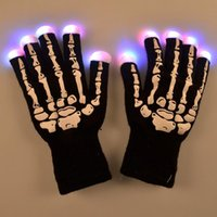 Wholesale Led Gloves Skeleton - LED Skeleton Gloves Light Up Shows Light Up Knit Gloves Light Show Gloves for Party Rave Birthday Halloween Costume Novelty Toy