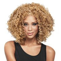 Wholesale Cosplay Blonde Brown - women african wigs curly afro kinky wig synthetic heat resistant african american short wig cosplay sexy brazilian hair wigs bob