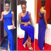 Wholesale One Shoulder Open Back Slit - Royal Blue One Shoulder Prom Dresses 2016 Straight Beaded Side Slit Open Back Long Evening Dress Floor Length Vestidos de formatura longo