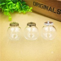 Wholesale Jewelry Findings Glass Vials - 30x15mm empty clear glass bottle with cap finding glass dome ball cover glass vial pendant charms fashion jewelry findings,2 colour choose