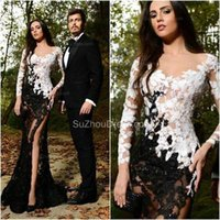 Wholesale Two Tone Purple Prom Dresses - 2017 Sexy See Through Split Formal Evening Dresses Long Sleeves Black and White Two Tone Lace Beaded High Party Gowns Prom Dresses