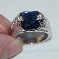 Wholesale Emerald Cut Engagement Rings - Men's 925 Silver Blue Sapphire Simulated Diamond CZ Gem Stone Emerald-cut Rings Engagement Wedding Anniversary Band Jewelry boys