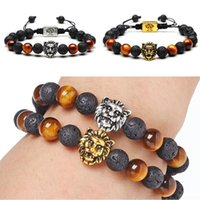 Wholesale Invisible Life - 8mm Mens Women Adjustable Lion Lava Rock Tiger Eye Stone Beaded Bracelet Tree of Life Charm Christmas Gift FBA Drop Shipping D237S