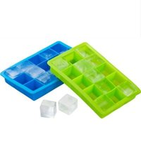 Wholesale Party Tray Baking - Silicone Square Ice Cube Tray Maker Mold Mould Making Candy Chocolate Baking Cake Fruit Pudding for Cocktail Cola Bar Pub Party 15 Units