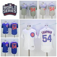 Wholesale Cheap Pinstripe Baseball Jerseys - Cheap 54 Aroldis Chapman Jersey Flexbase Chicago Cubs Baseball Jerseys 2016 World Series Postseason Cool Base White Pinstripe Gray Blue