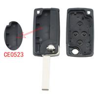 peugeot için anahtar olay toptan satış-Peugeot 1007 Citroen C8 CIA_413 için Uncut Araba Kapak Anahtarı ile Yedek Anahtarı Uzaktan Fob Shell Kılıf Katlanabilir Siyah 4 Düğmeler