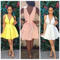 Wholesale Trend Evening Dress - New Arrive Vestidos Women Fashion Casual Dress v-Neck Sleeveless Pink Evening Party Dresses Vestido de festa Brasil Trend SY5036