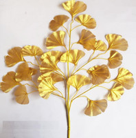rattan garden sets großhandel-60 cm Ginkgo Biloba Blatt Fünf Zweige Maidenhair Bäume Blätter Künstliche Baum Seide Zweig Stem Hochzeit Garten Dekoration 12 stücke ein satz WQ21