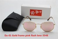 Wholesale flash female fashion for sale - Group buy 1pcs Brand fashionable retro metal circular sunglasses male and female pink flash glass mm lens UV400 protection black case