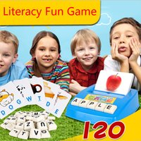 Wholesale Word Games Educational - Wholesale- English Word IQ Puzzle Toys for child Early Learning Montessori Educational Literacy Fun Game Baby letters card Learning Machine