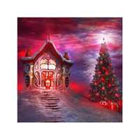 Wholesale Christmas Scenic Backdrops - 8X8ft(240x240cm)Christmas party free shipping Red House Vinyl Photography Background Backdrops backgrounds for photo props studio ST516
