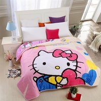 quilt hearts achat en gros de-Love Heart Bonjour Kitty Thin Quilt Home Textile Summer Quilts for Kids Lavable Cadeau Consolateur, Air conditionné Cartoon Blanket