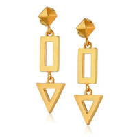 Wholesale Triangle Metal Studs Gold - Hollow Metal Triangle Rectangular Link Pyramid Earring Stud Woman Fashion Geometry Simple Style OEM ODM Wholesale DHL Free Shipping