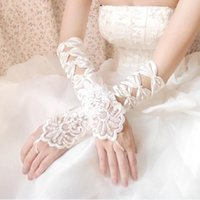 Wholesale Cheap Black Elbow Gloves - Hot Sale High Quality White Ivory Fingerless Wedding Gloves Cheap 2018 Sheer Lace Beaded Bridal Gloves