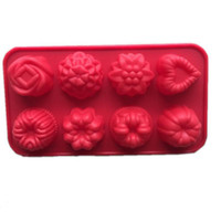 Wholesale Cake Muffin Chocolate Cupcake - Flower Heart Chocolate Muffin CupCake cake Candy Ice Silicone Tray Mold Mould 8 Cavity per sheet