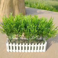 ingrosso pianta di bambù in plastica-Natale 10 Set 37 centimetri di plastica artificiale di bambù pianta albero ramo matrimonio casa giardino Decor falso fogliame verde Fl5238