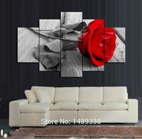 Wholesale Oil Prints Canvas Red - 5 Panel Red Rose Canvas Oil Painting Home Decoration Wall Art Unframed Gift Painting HD Pictures