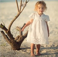 Wholesale korean lace formal dress - Cotton Lace Girl Dress Kids 2017 Summer New Embroidered Children Clothes White Lace Princess Korean Cute Thin Dress Size 100-140