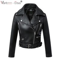 Wholesale Ladies Leather Motorcycle Jackets - VARBOO_ELSA black outwear tops casaco spring lady short style Pu Leather Coat motorcycle jacket zipper pockets punk coat Sashes