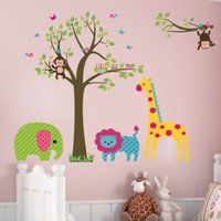 Wholesale Wholesale Owl Decor For Trees - 100pcs ZY5071 Cartoon animal monkey owl Jungle Tree nursery decor art lion Kids room decor pvc home decal wall stickers bedroom decor 5.0
