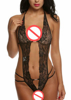 Wholesale Sexy Onesies For Women - Sexy Deep V Halter Lingerie Lace Babydoll Mini Close-fitting Jumpsuit For Women