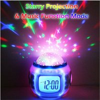 Wholesale Thermometers For Children - Cute Digital Alarm Clock Colorful Night Lights LED Light Music Star Starry Sky Projector Calendar Thermometer Christmas Gifts for Children