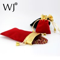 Wholeslae 50pcs 7 * 9cm Red Black Bolsas de jóias Velvet Gift Bags Wedding Favors Ring Bracelet Pendant Necklace Storage Drawstring Case