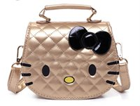 Wholesale Kitty Tote Bag - New Girls Cute Shoulder Bag Children Cartoon Hello Kitty Bowknot Handbag Kids Tote Girls Shoulder Bag Mini Bag
