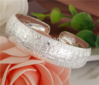Wholesale Happiness Bangle - Wholesale- H:HYDE Wholesale elegant sweet silver color charming Bangles Bracelets for gifts craved happiness words pulseiras