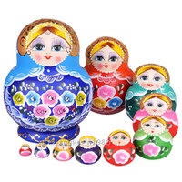 Wholesale Russian Wooden Dolls Set - Wholesale-OP-10 Pcs Set Wooden Doll Matryoshka Doll Children Toys Russian Nesting Dolls Kids Gift Red Blue Toys Pink Doll