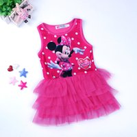 Wholesale Baby Pink Minnie Tutu Dress - New Summer Girls Dress Tutu Princess Baby Minnie Dress Dot Baby Casual Paty Dress for 1-5 Years Kid Dress