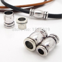 Wholesale Leather Cord Necklace Magnetic Clasp - 5pcs lot Hole 4 5 6 mm Rhodium Magnetic Clasps Necklace Bracelet Connectors DIY Finding For Round Leather Cord F918