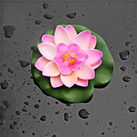 Wholesale Water Lily Silk Flowers - 10 x Artificial PE Foam Lotus flowers Water Lily Floating Pool Plants Wedding Decoration