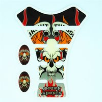 Wholesale Sport Motorcycle Tank Pad Protector - Skull Sport Motorcycle Fuel Gas Cover Tank Pad Protector Stickers Decales For Hond Yamah Suzuk Kawasak Ducat Harley QJC1602