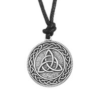 Wholesale Celtic Knot Pendant Wholesale - My Shape Adjustable Religious Jewelry Series trinty knot pendant Waxed Cord Necklace for Man and Woman