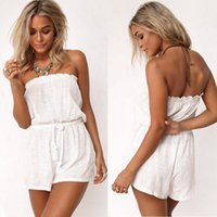 Wholesale Super Sexy Rompers - 2016 Summer Women Sexy Bra Rompers Minimalist Design Super Thin Short White Jumpsuits Siamese Women Clothes