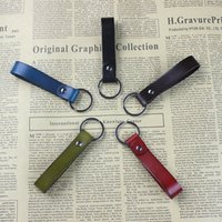 Wholesale Cylindrical Ring - High Quality Genuine Leather Key Holder Six Colors Key Ring Leather Key Chain Simple Design Style