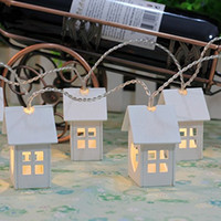 Wholesale Led Battery Curtain Fairy Lights - Battery Operated Fairy Lights White Natural Wooden House 10 3V LED Warm White 2 x AA Christmas String Lamps LED 5.5 Feet