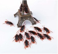 Wholesale Pvc Cock - Halloween Prank Funny Trick Joke Toys Special Lifelike Model Simulation Fake Rubber Cockroach Cock Roach Bug Roaches Toy