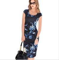 nuevo lápiz xxl al por mayor-New Arrivals Womens Summer Fashion Square Neck Print Lápiz vestidos para mujer Plua tamaño Sexy impresión de plumas delgado bodycon vestido S-XXL