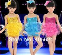 Wholesale girls belly dance skirt costume - Fashion Girl Sequins Suspenders Swans Cake Skirt Children's Dancewear Performance Clothes Modern Latin Ballet Stage Costume