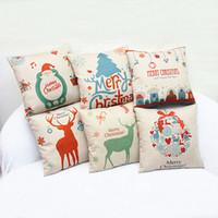 pequeñas fundas de almohadas al por mayor-Regalo de navidad funda de almohada Síntesis de lino Feliz Navidad Pequeña campana de algodón de lino Throw Pillow Cushion Home Decor