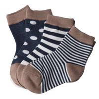 Wholesale Boys Slipper Socks New - 4 Pairs Striped Socks Baby New Born Boy Girl Casual Winter Infantil Baby Slippers,Anti Slip Socks Floor Children Socks