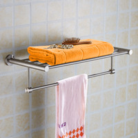 Wholesale Stainless Bar Shelves - Stainless Steel Towel Rack wall mounted Bathroom Accesseries High Quality Bath Towel Shelves Towel Bar Bath Hardware