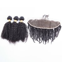Wholesale Mongolian Kinky Curl Closure - 13x4 Kinky Curly Lace Frontal Closure with Bundles Brazilian Human Virgin Hair Kinky curl 3 bundles with closure