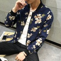 Wholesale floral jean jacket - Wholesale- Mens Spring Floral Jean Jacket Long Sleeve Collarless Slim Bomber Jackets Brand Clothing jaqueta masculino Plus Size 5XL Y2252
