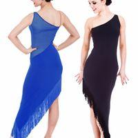 Wholesale Latin Dresses For Children - 2016 Adult Child New Latin Dance Costumes For Women Girls Sleeveless Blue Black Ballroom Dance Dress Women Cha Cha Samba Latin Skirt