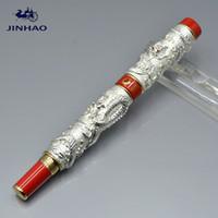 шарик для рисования оптовых-Роскошная ручка JINHAO для уникального серебряного Двойного Дракона тиснение металлическая шариковая ручка с деловыми канцелярскими принадлежностями написание гладких подарочных ручек