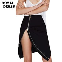 Wholesale Mini Jupe - Women Sexy Split Mini Skirts with Zipper Lady Summer Black Irregular Slim Pencil Asymmetrical Fashion Jupe Clothing Saias Skirt Jupes Saias