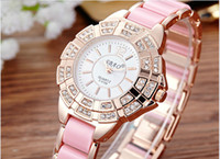 Wholesale Wholesale Watches Clothes - Fashion Girl Geneva Wrist Watches 10 Color Elegant Retro Beautiful Women Clothing Wristwatches 50pcs lot DHL Free Shipping